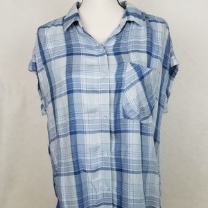 Cloth and Stone MED Plaid Button Down S/S Shirt